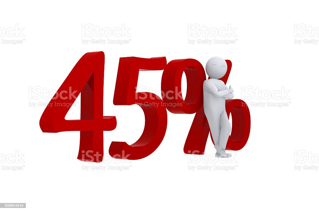 Cool 3d human leaning against 45% stock photo