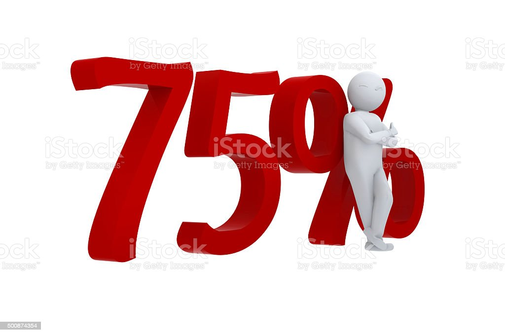 Cool 3d human leaning against 75% stock photo