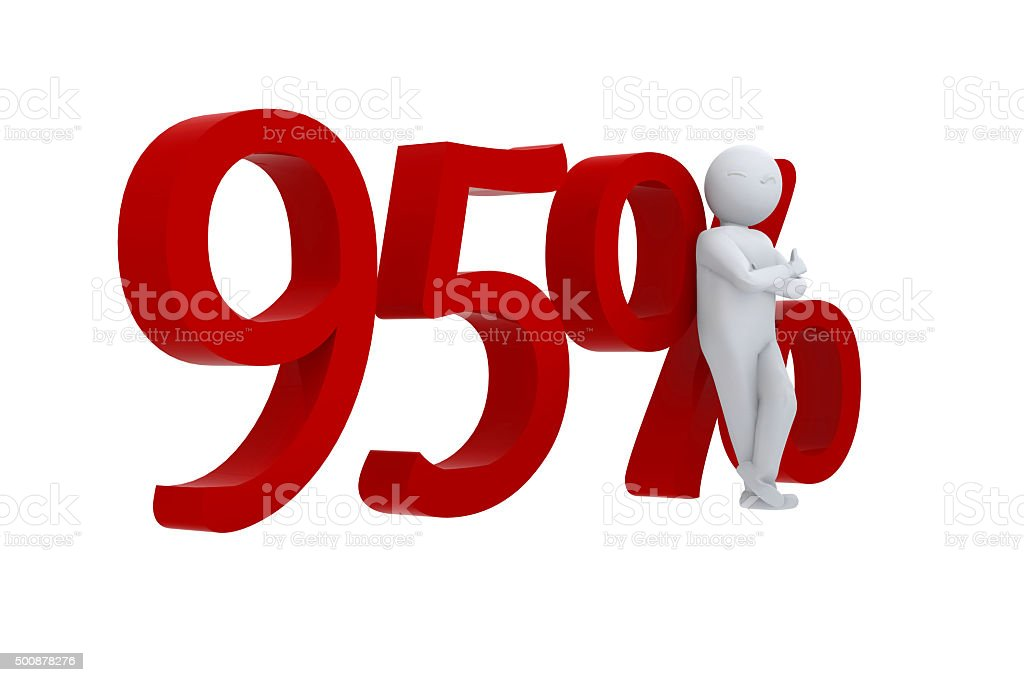 Cool 3d human leaning against 95% stock photo