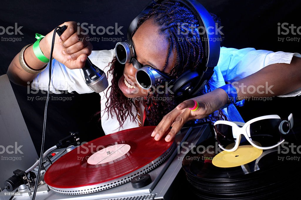 cool afro american DJ in action royalty-free stock photo