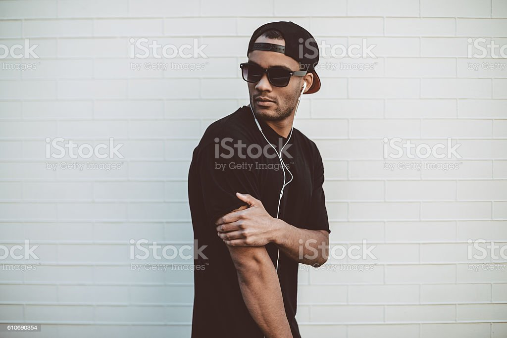 Cool and handsome. stock photo