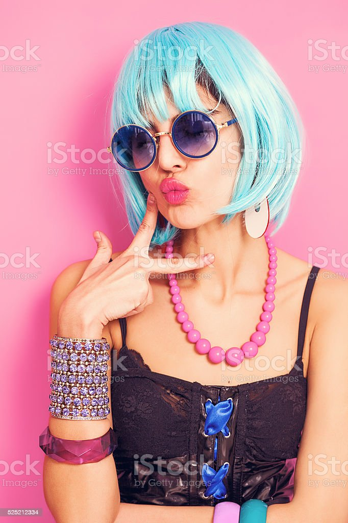 Cool and pretty pop girl portrait stock photo