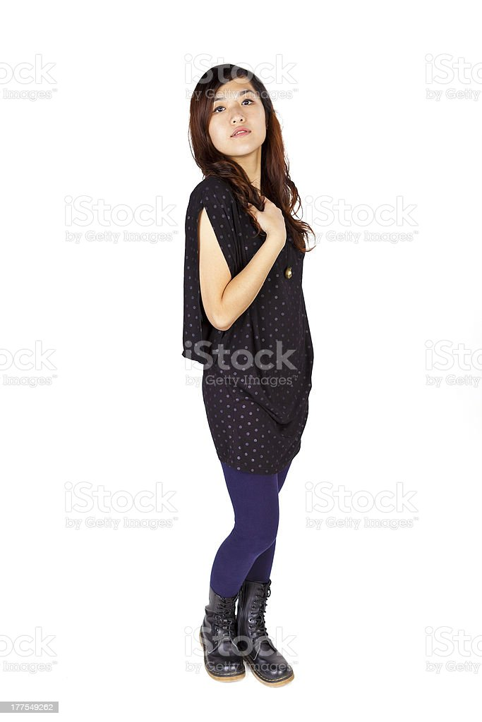 Cool asian woman on white background royalty-free stock photo