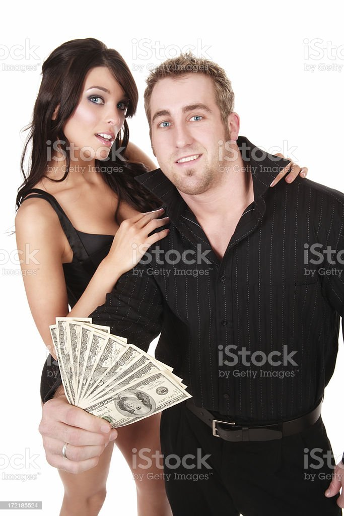 Cool Beauty and Cold Hard Cash stock photo