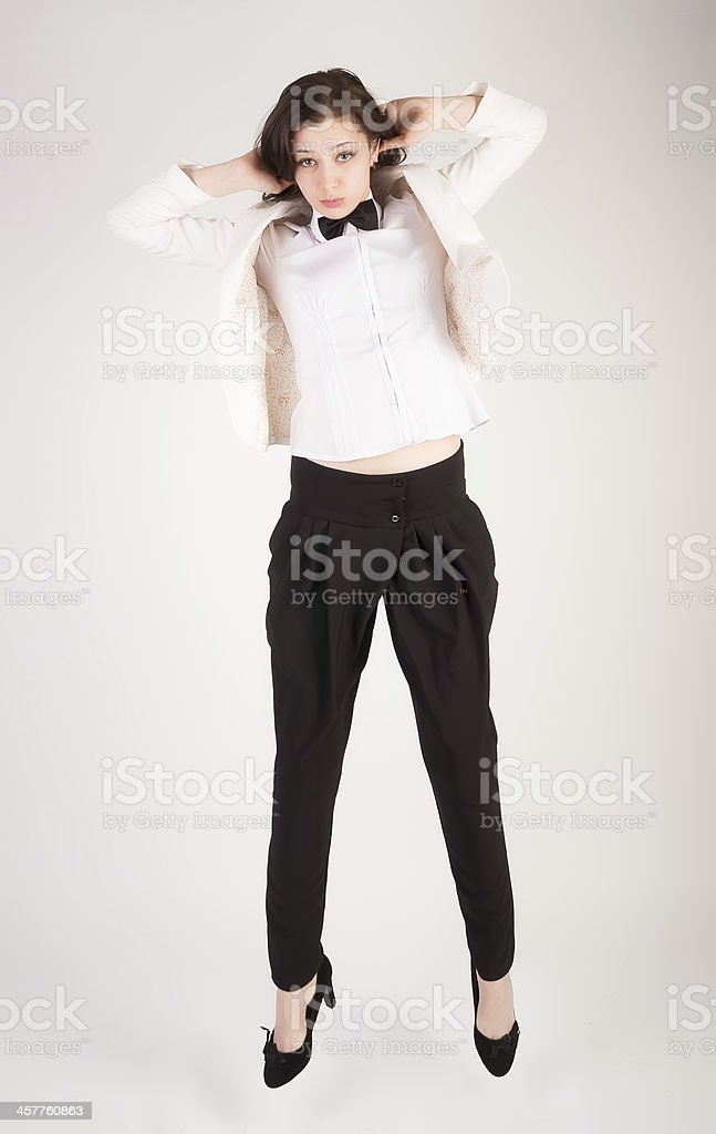 cool business woman in air royalty-free stock photo