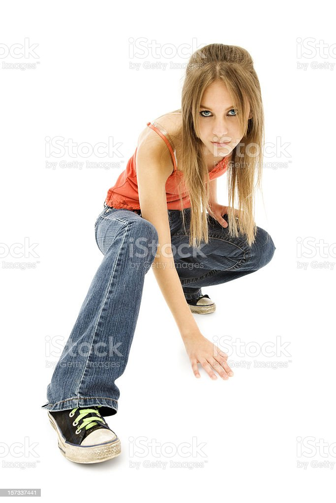 Cool Casual Crouching Teen royalty-free stock photo
