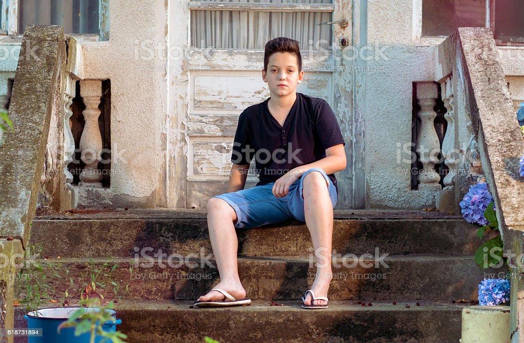 Cool casual teen stock photo