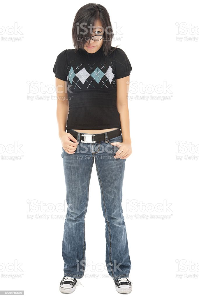 Cool Casual Young Asian Woman on White royalty-free stock photo