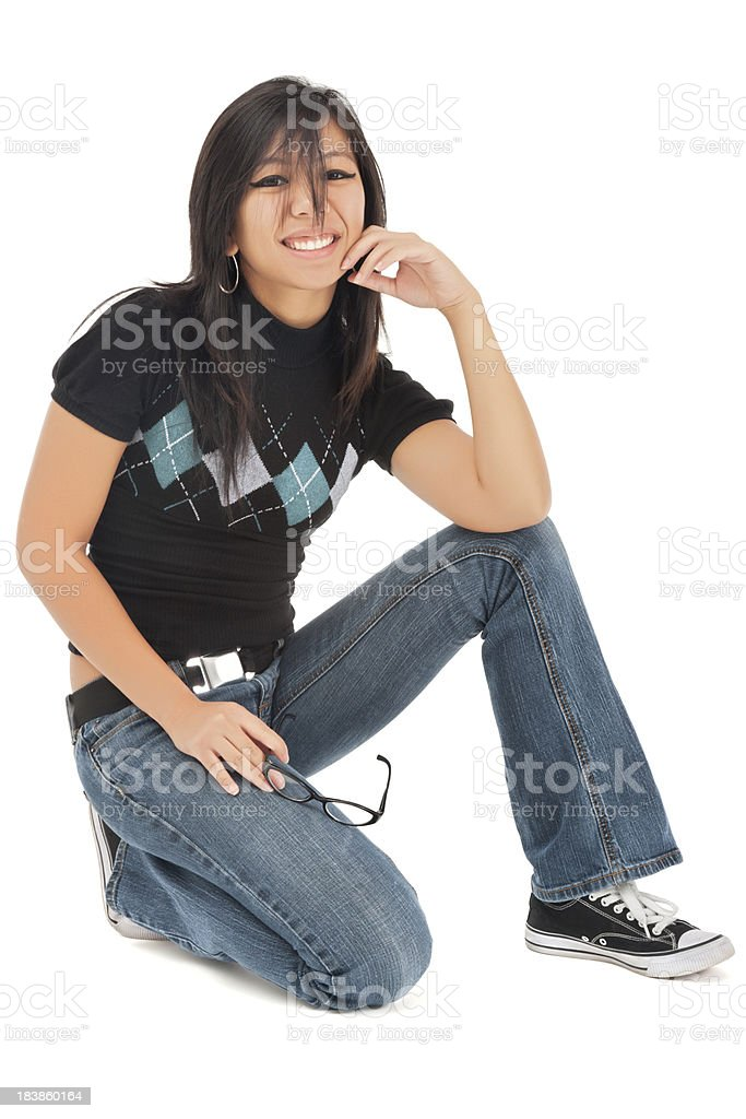 Cool Casual Young Asian Woman Sitting on Floor royalty-free stock photo