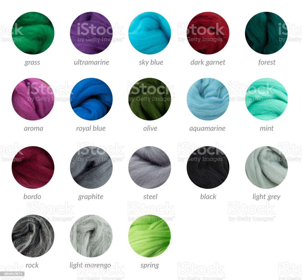 Cool colors merino wool palette guide with titles stock photo