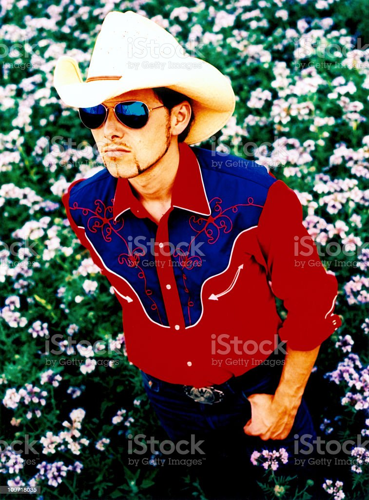 cool cowboy in a flower meadow royalty-free stock photo