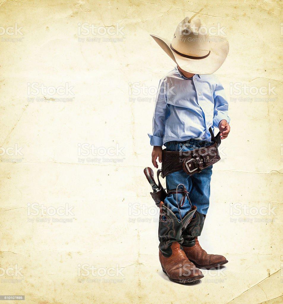 cool cowboy kid stock photo