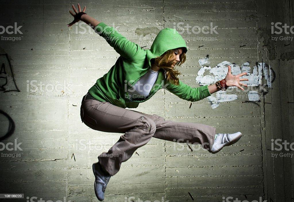 Cool dancing girl stock photo