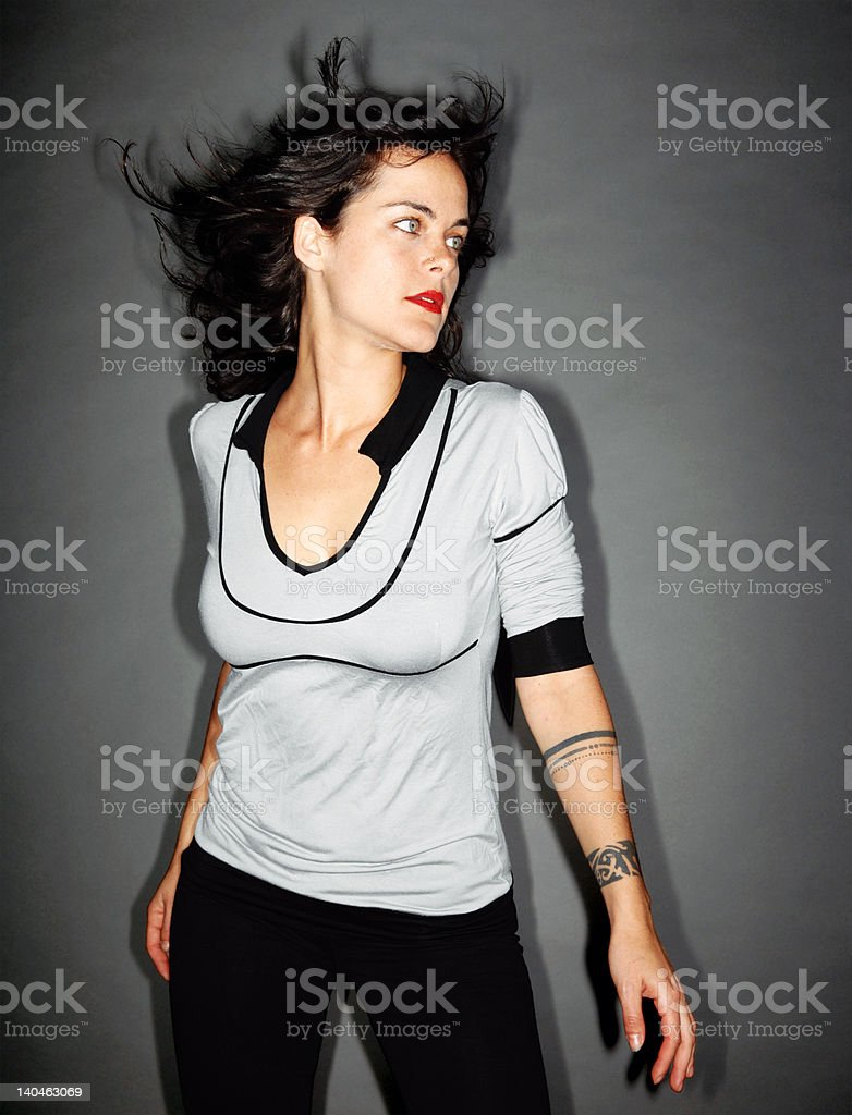 Cool dancing young girl royalty-free stock photo