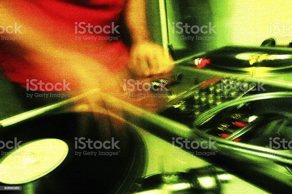 cool dj spinning royalty-free stock photo
