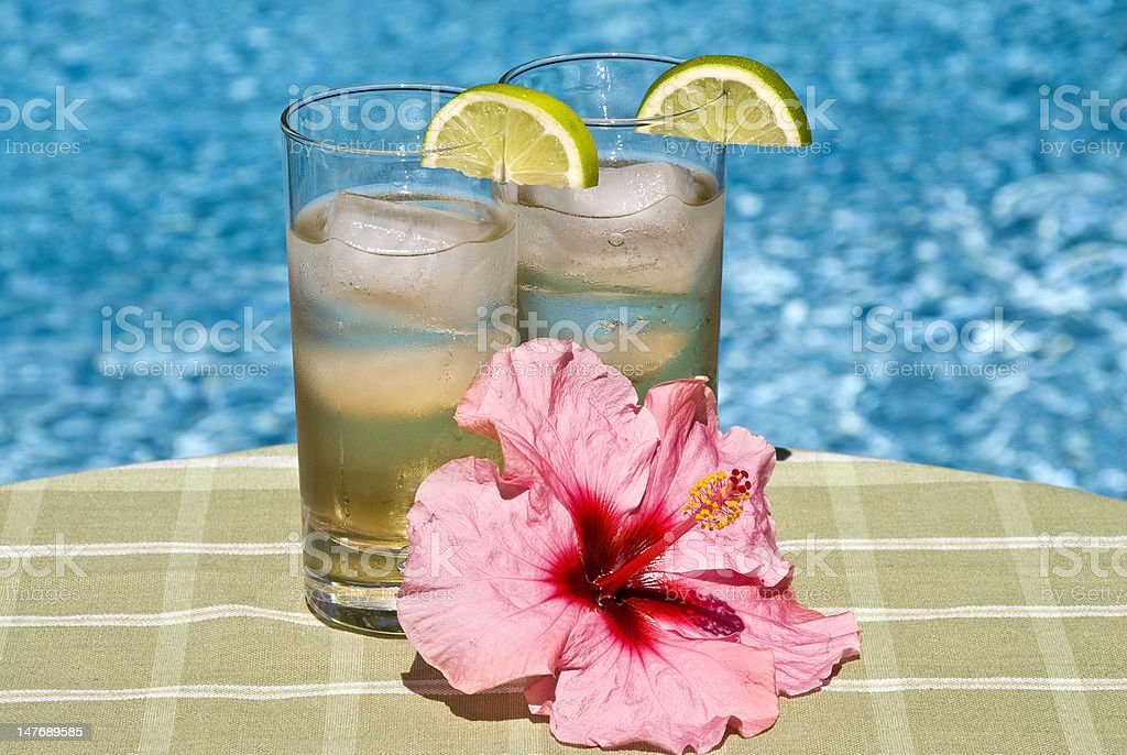 Cool Drinks in Tall Glasses by the Pool stock photo