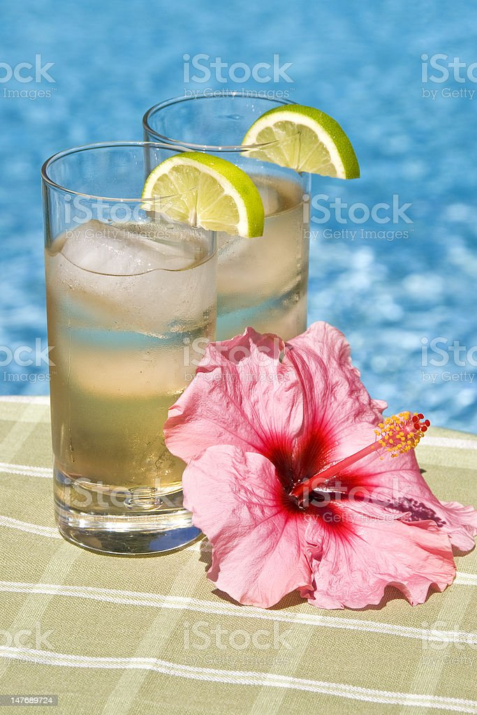 Cool Drinks in Tall Glasses by the Pool royalty-free stock photo