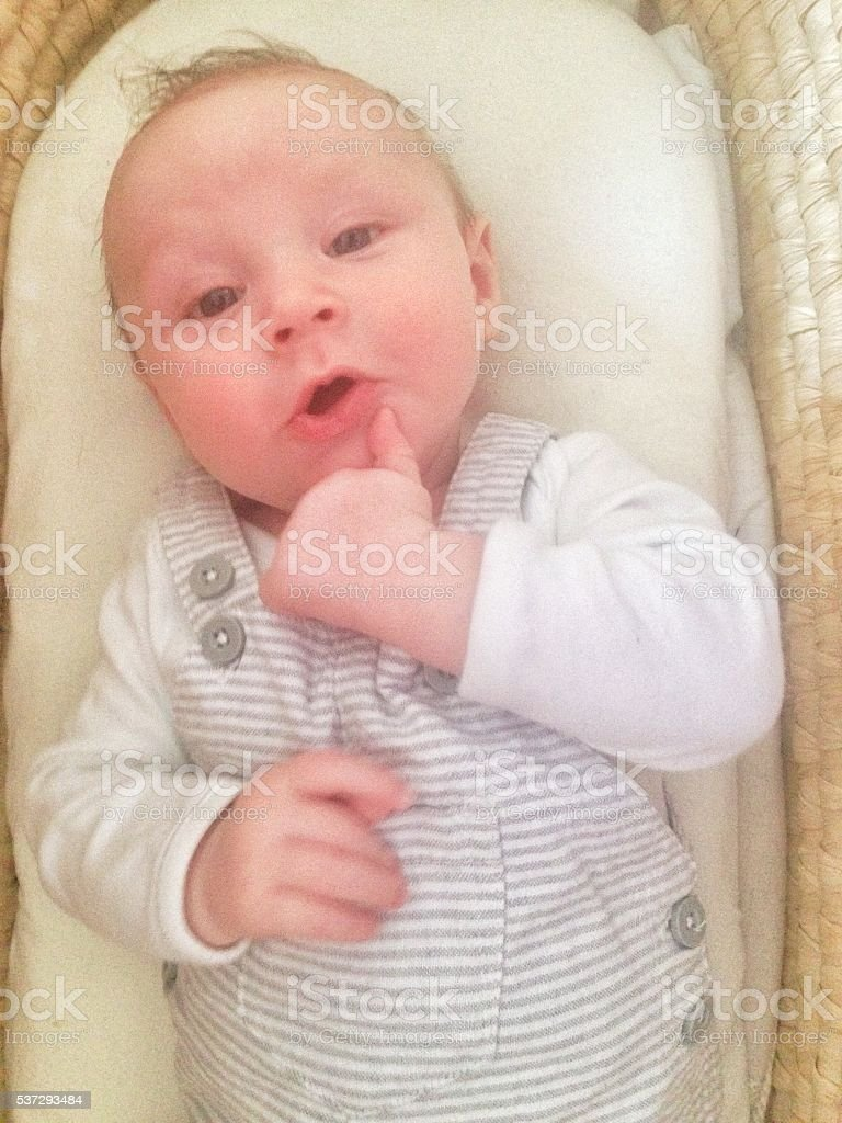 Cool dude baby in a Moses basket stock photo