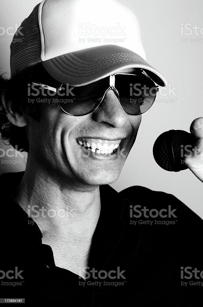 cool dude on the mic royalty-free stock photo