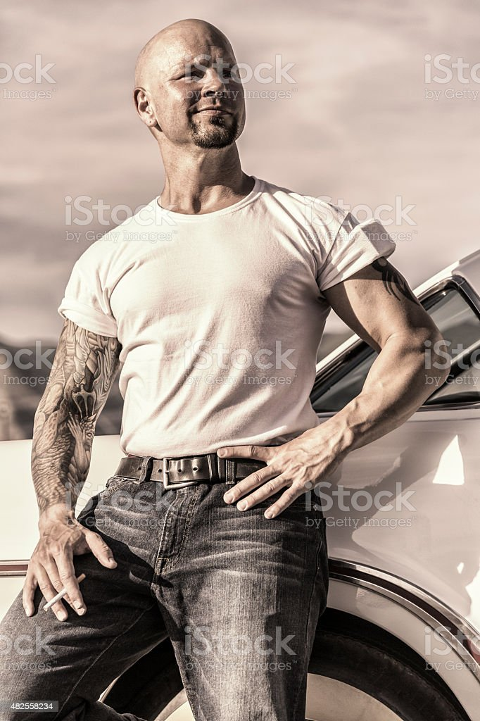Cool Fifties Muscle Guy Portrait stock photo