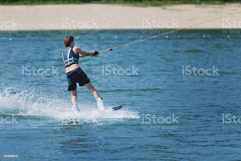 Cool girl wakeboarding royalty-free stock photo