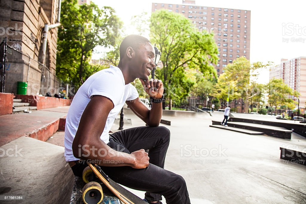 Cool guy at New York skate park stock photo