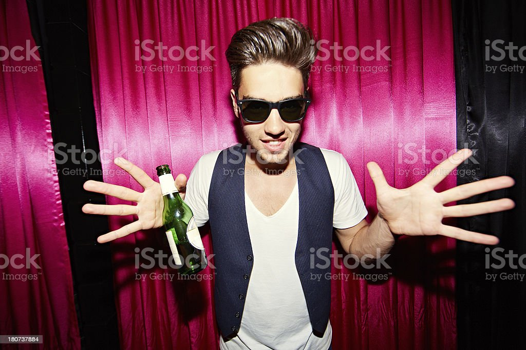 Cool guy at party royalty-free stock photo