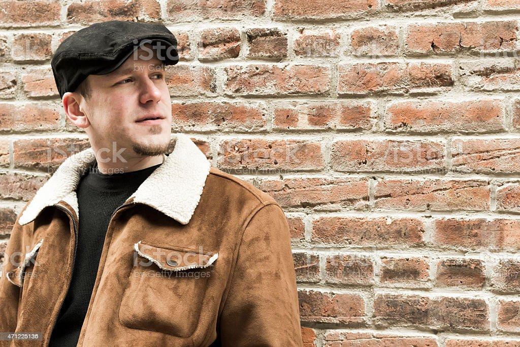 Cool Guy Brick Wall stock photo