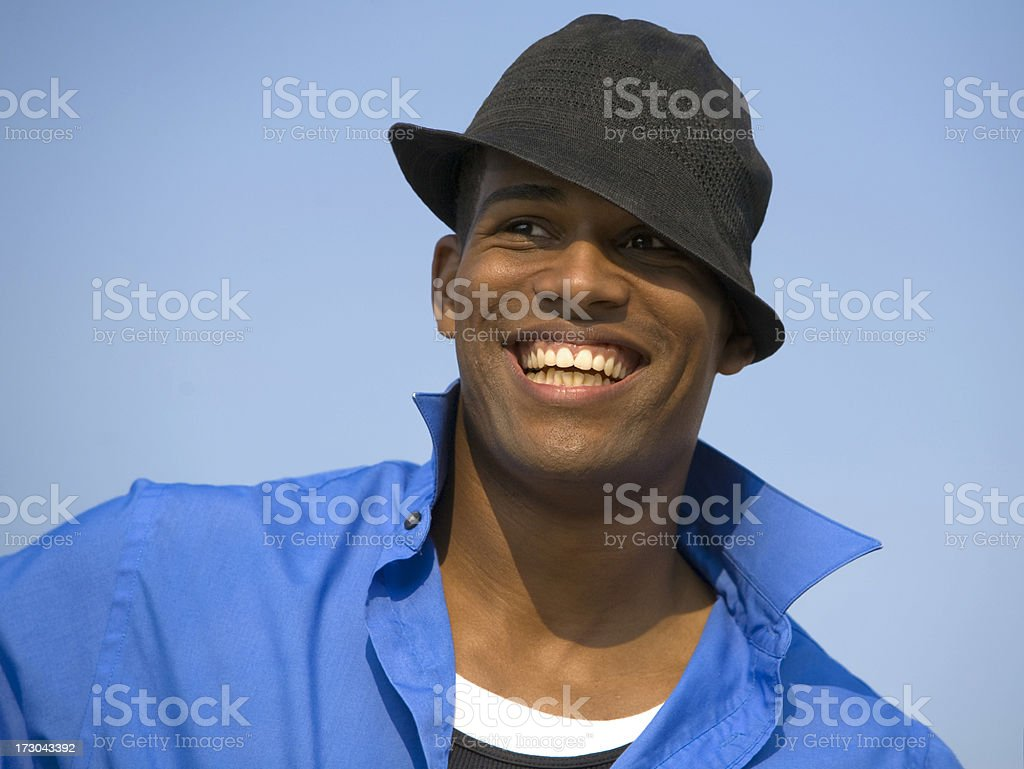 cool guy in a black hat stock photo