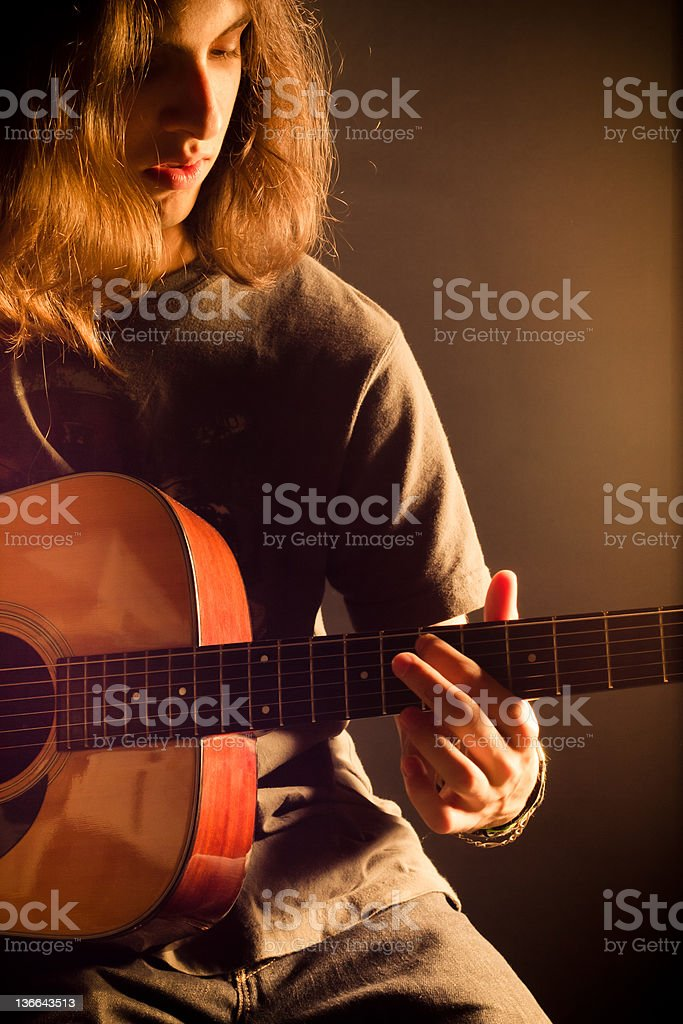 Cool Guy with Acoustic Guitar stock photo