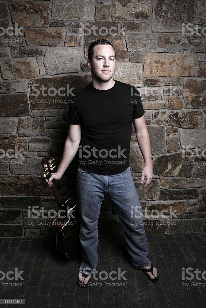 cool guy with guitar royalty-free stock photo