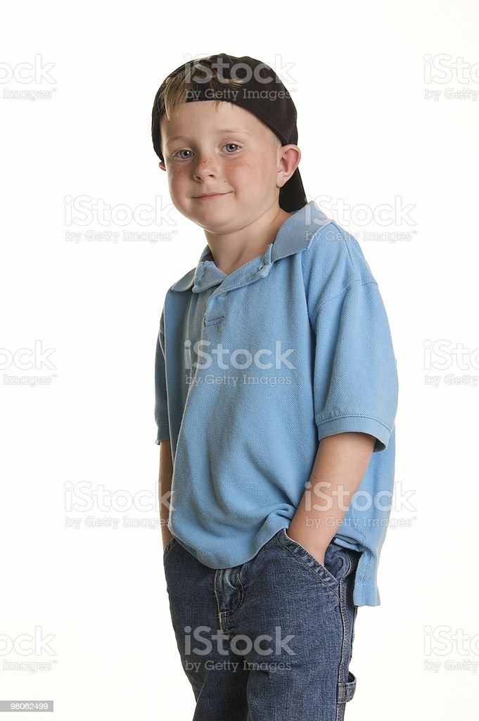Cool Little Boy with Backwards Cap royalty-free stock photo