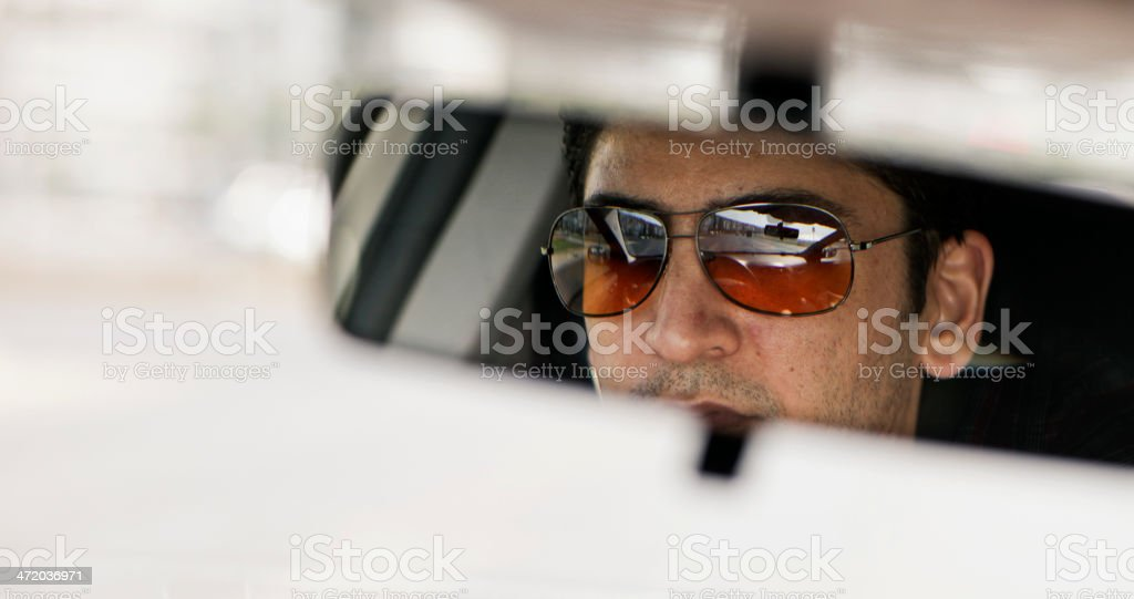 Cool Man Car Indoors Portrait royalty-free stock photo