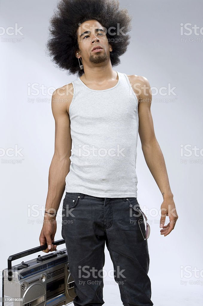 cool man carrying portable radio royalty-free stock photo
