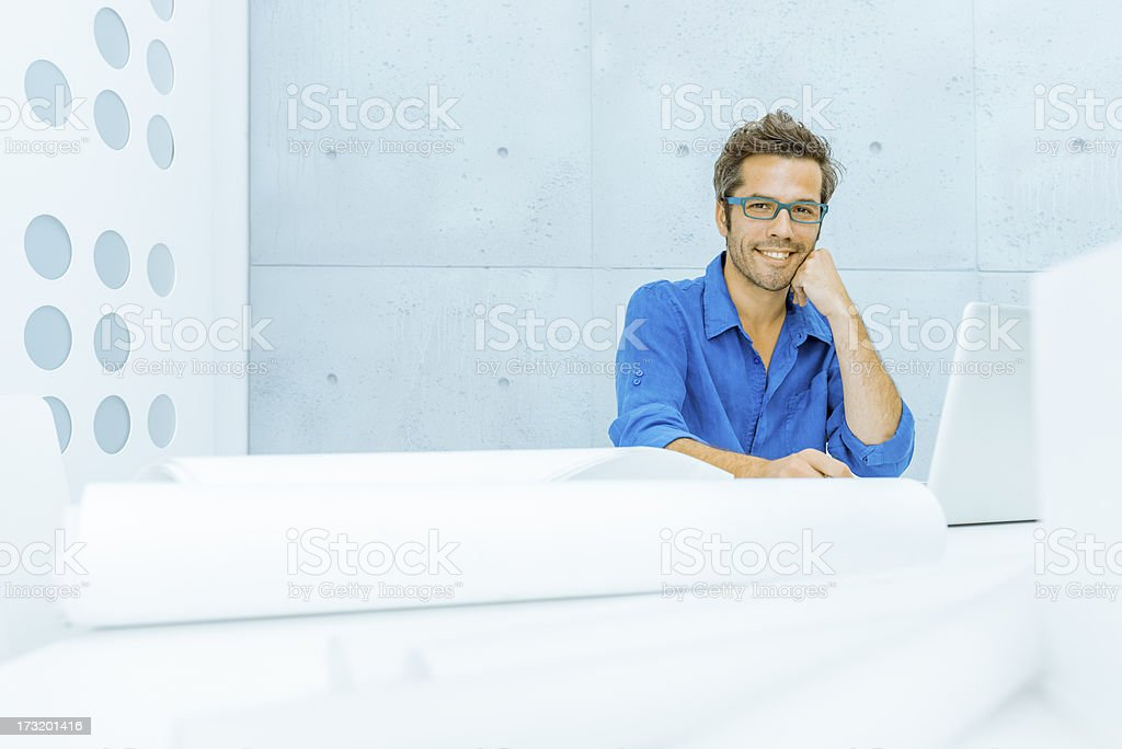 Cool middle aged man in the office royalty-free stock photo