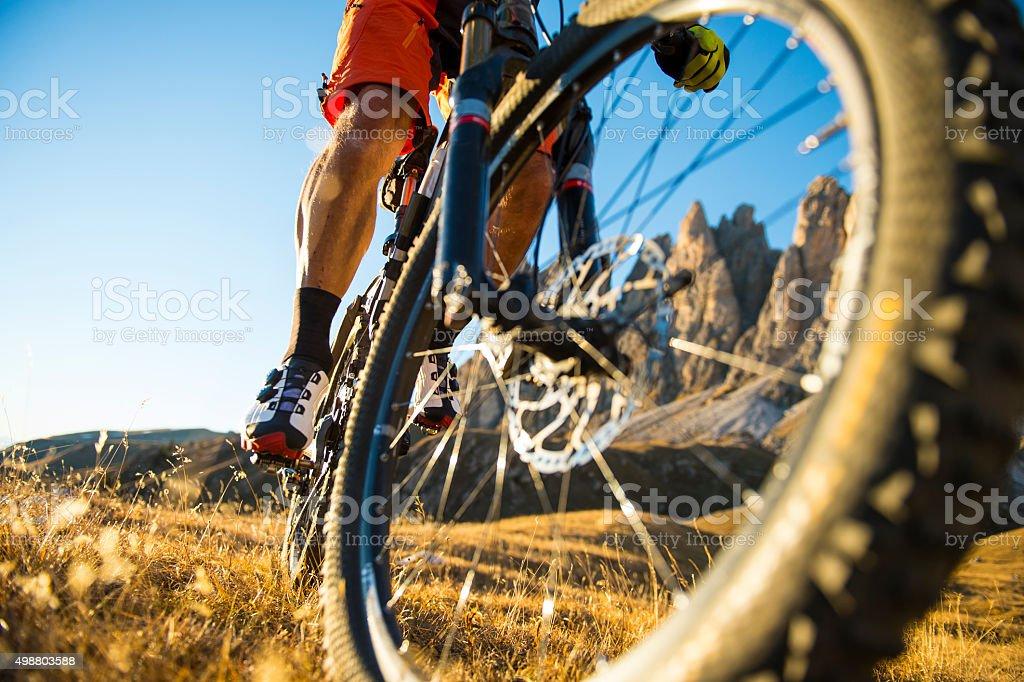 cool new mounatinbike shoot look stock photo