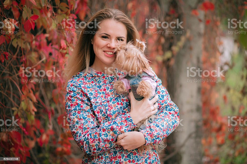 Cool puppy and young women having fun in a park stock photo
