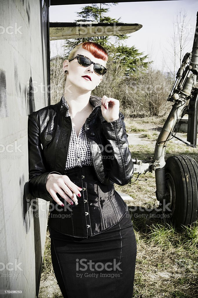 Cool rockabilly chick stock photo