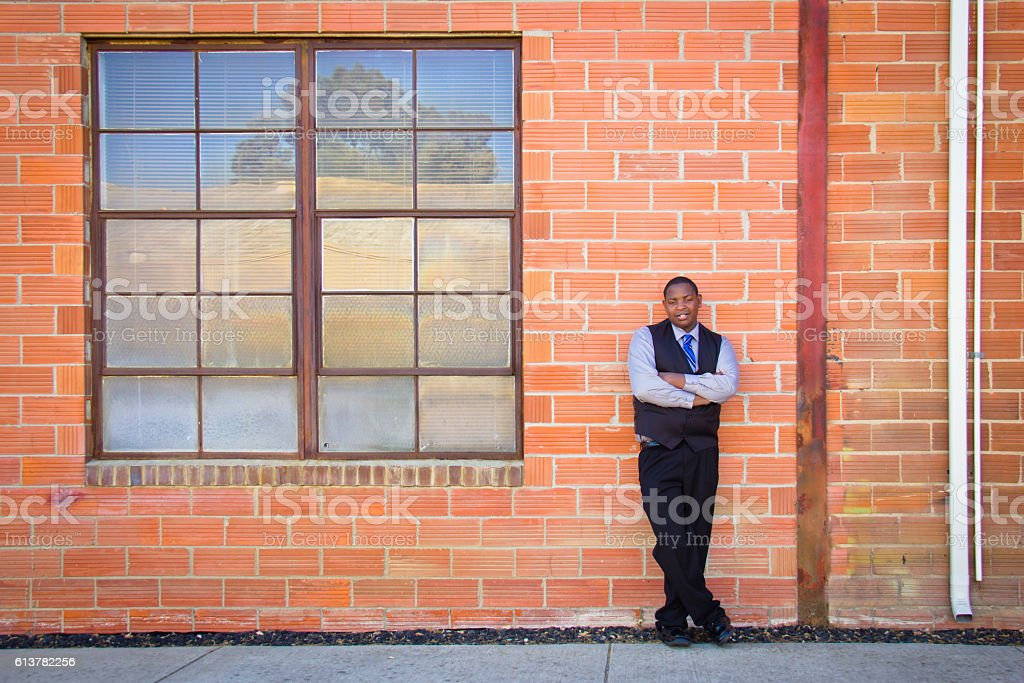Cool stand African American young man stock photo