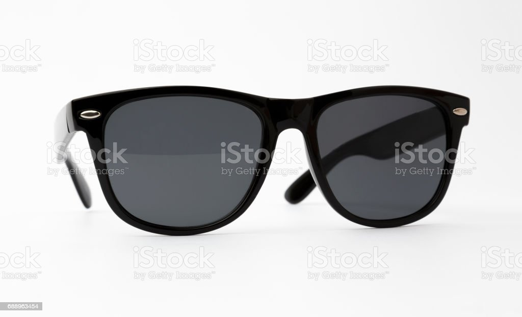 Cool sunglasses with black plastic frame isolated on white background stock photo