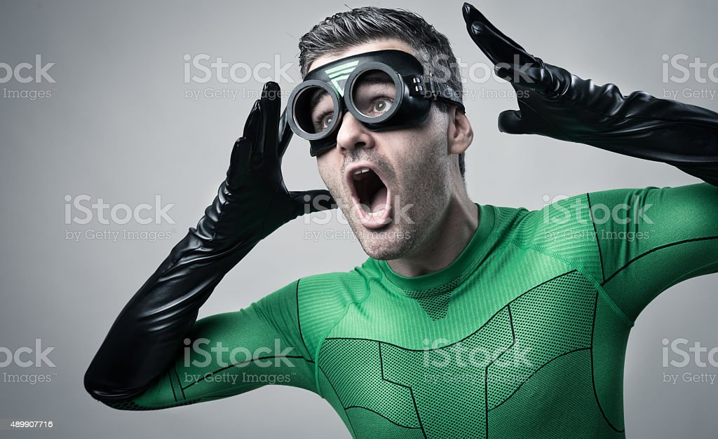 Cool superhero shouting out loud stock photo