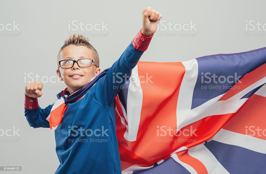 Cool superhero with fists raised stock photo
