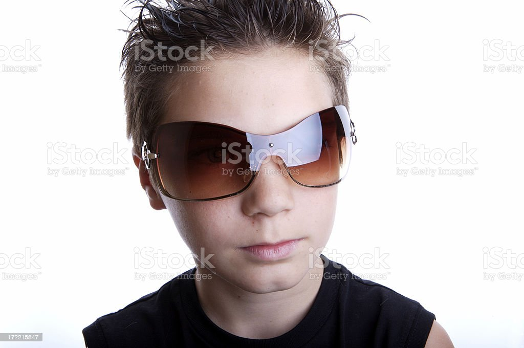 Cool teenager with fashion glasses royalty-free stock photo