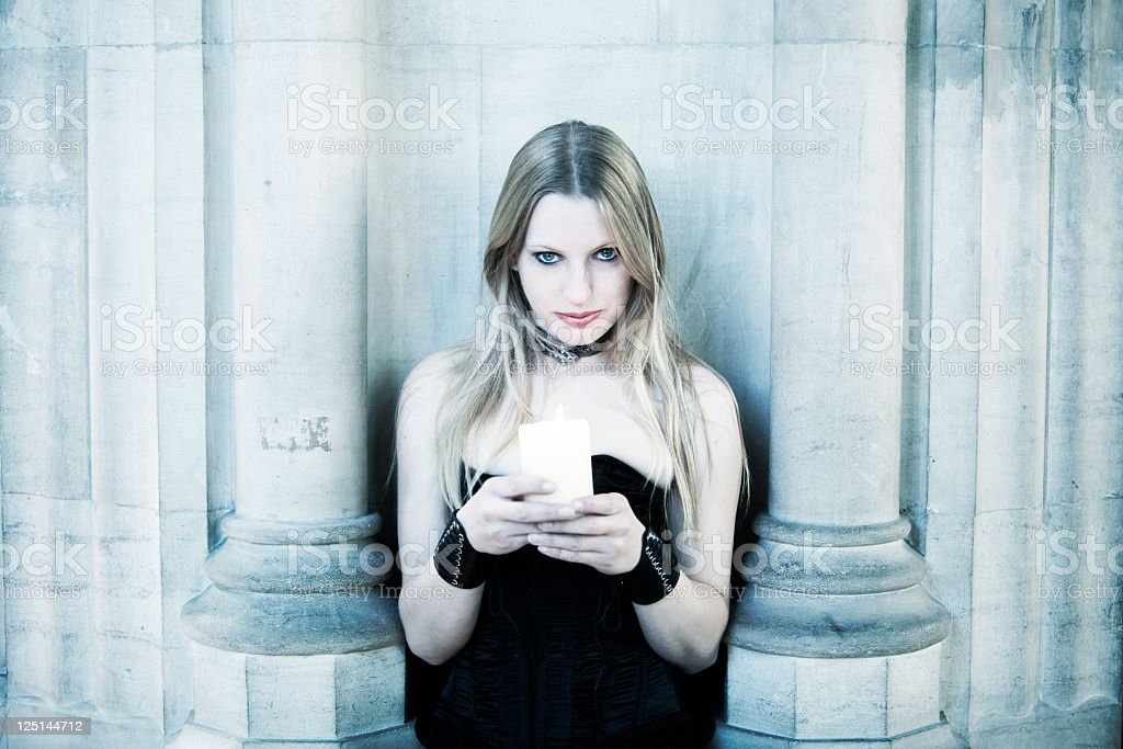 Cool Tone Woman with Candle royalty-free stock photo