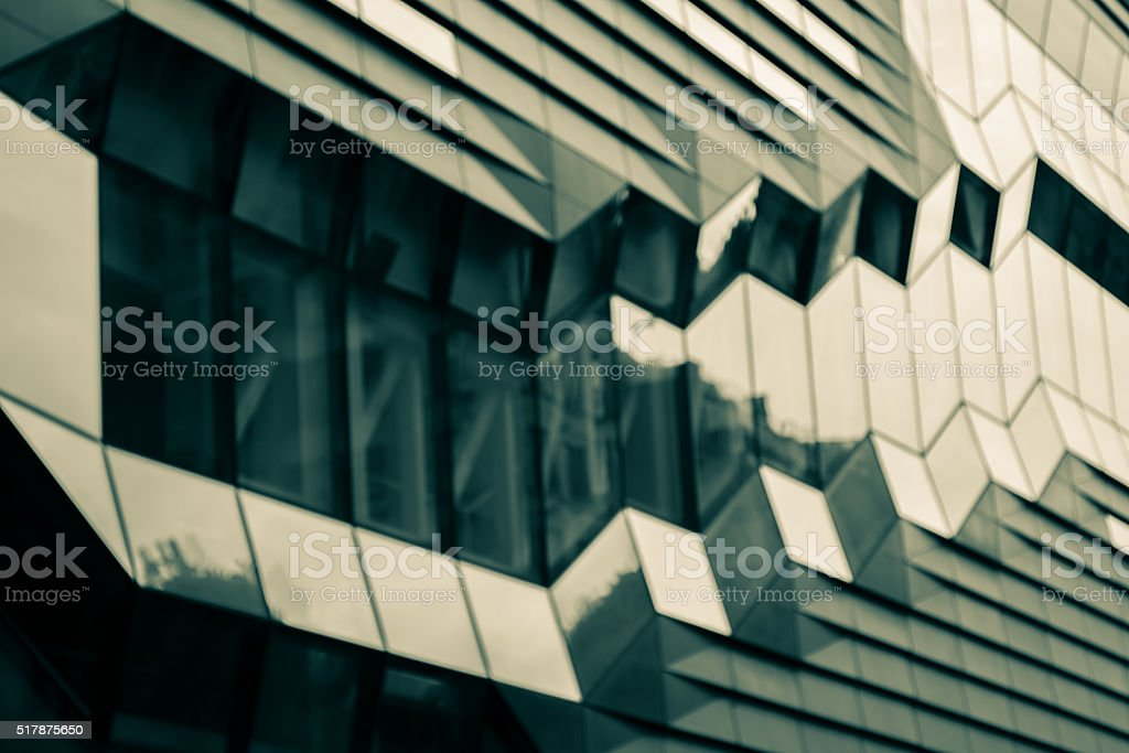 Cool toned architectural exterior detail stock photo