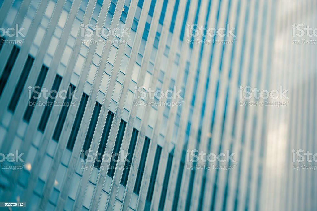 Cool toned architectural office building detail stock photo