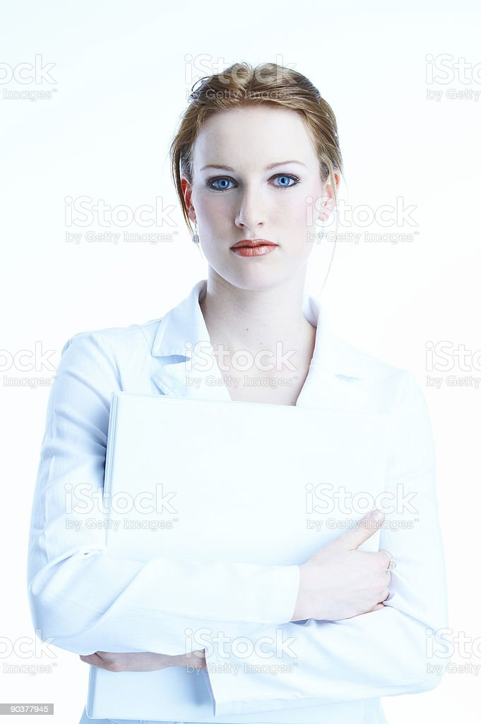 cool white-dressed businesswoman in blue light royalty-free stock photo