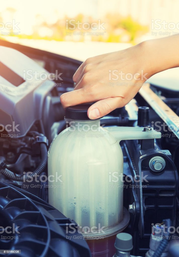 Coolant car check stock photo