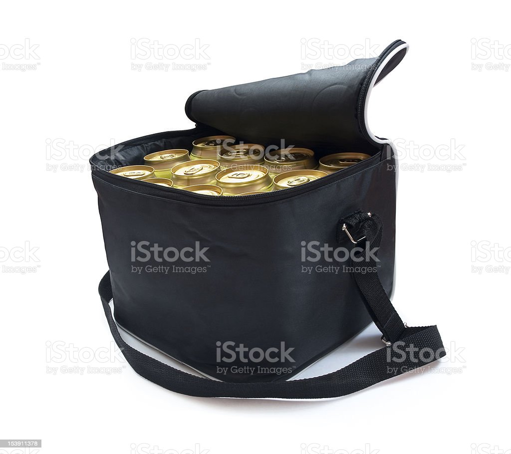 Cooler bag with cans of beer stock photo