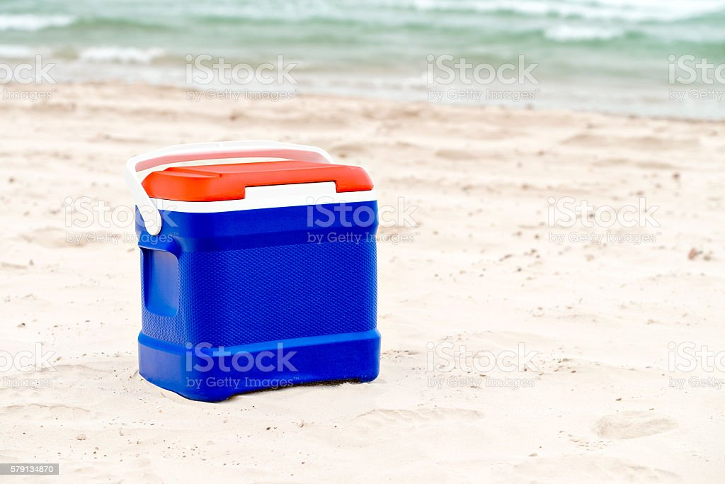 Cooler box in Australian Flag colors stock photo